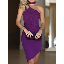 Elegant Pleated Sleeveless One-Shoulder Asymmetric Bodycon Women's Dress