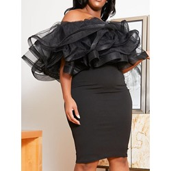 Plus Size Black Mesh Falbala Off Shoulder Bodycon Women's Dress