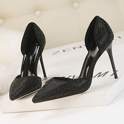 Shoespie Trendy Pointed Toe Slip-On Rhinestone Low-Cut Upper Stiletto Heels