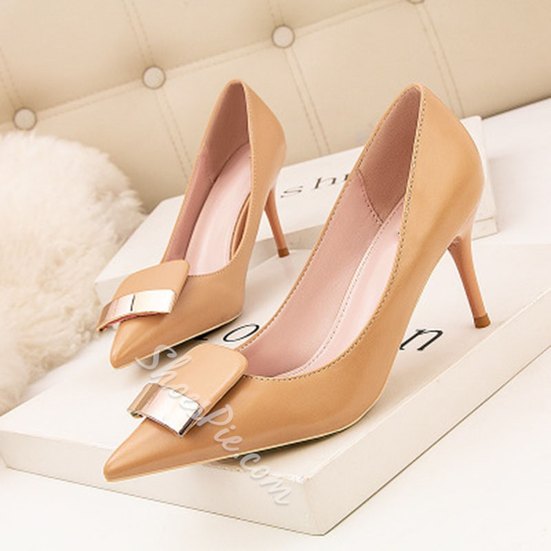 Shoespie Trendy PU Stiletto Heel Pointed Toe Plain Stiletto Heels