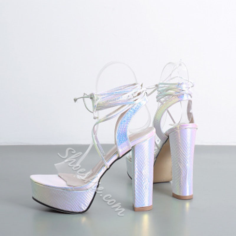 Shoespie Sexy Ankle Strap Lace-Up Open Toe Platform Sandals