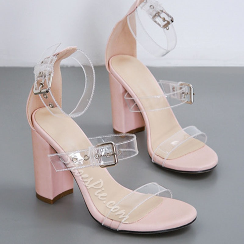 Shoespie Trendy Chunky Heel Line-Style Buckle Plain Sandals