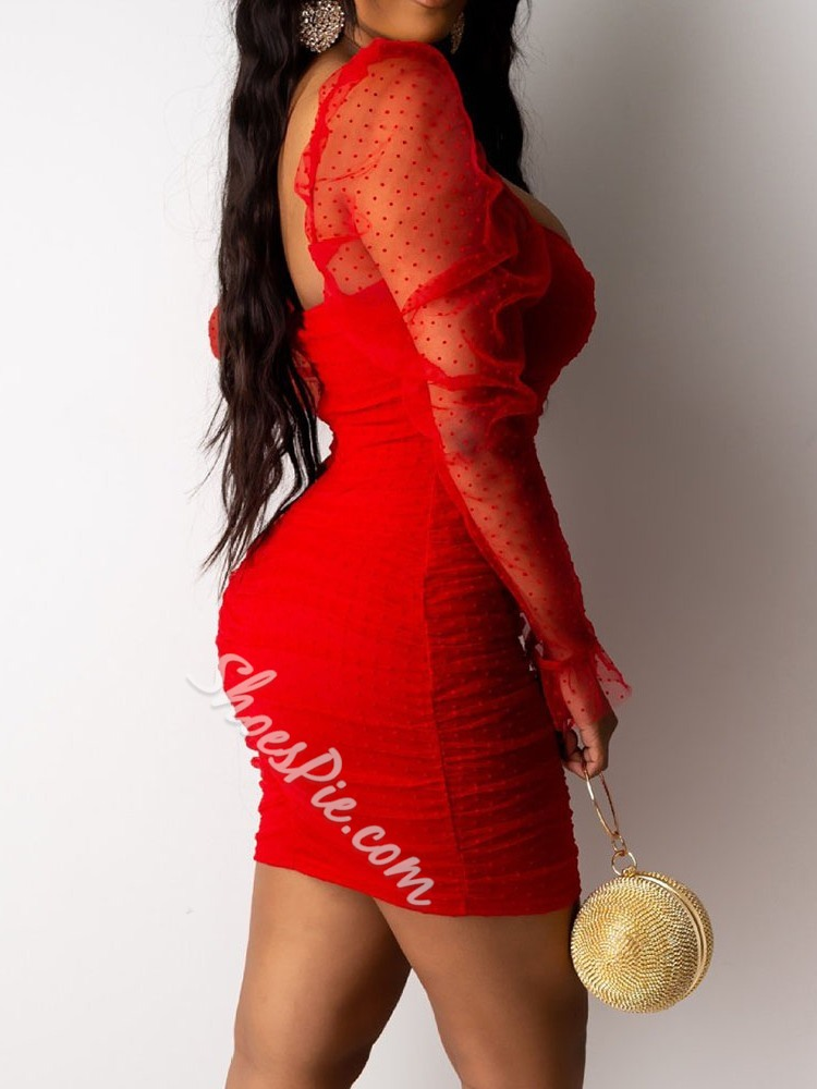 Sexy Red Mesh Long Sleeve See-Through Pleated Bodycon Women's Dress