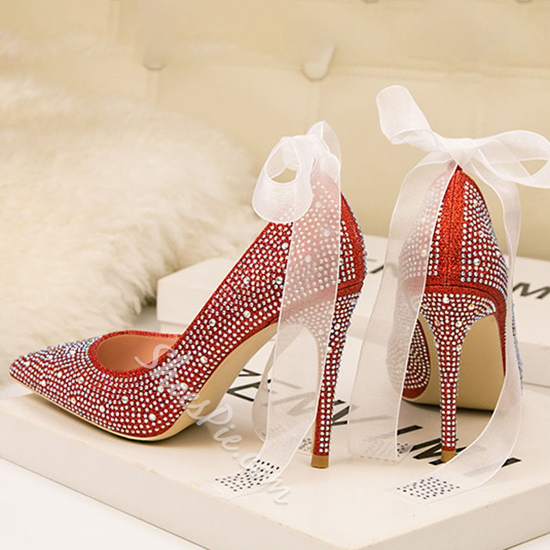 Shoespie Trendy Rhinestone Stiletto Heel Slip-On Banquet Stiletto Heels