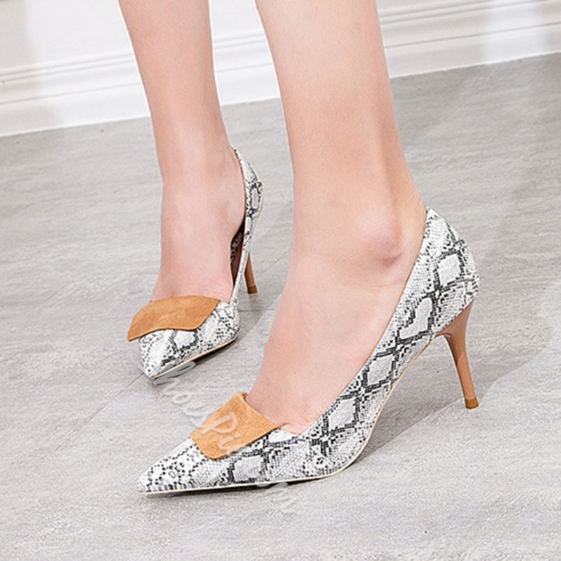 Shoespie Trendy Pointed Toe Serpentine Low-Cut Upper Stiletto Heels
