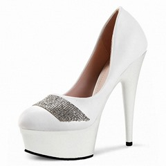 Shoespie Stylish Stiletto Heel Round Toe Sequin Patchwork Platform Heels