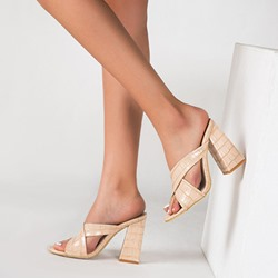 Shoespie Stylish Cross Strap Slip-On Chunky Heel Mules Shoes
