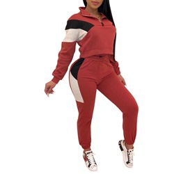 Sports Color Block Lapel Hoodie Ankle Length Pants Women's Two Piece Sets