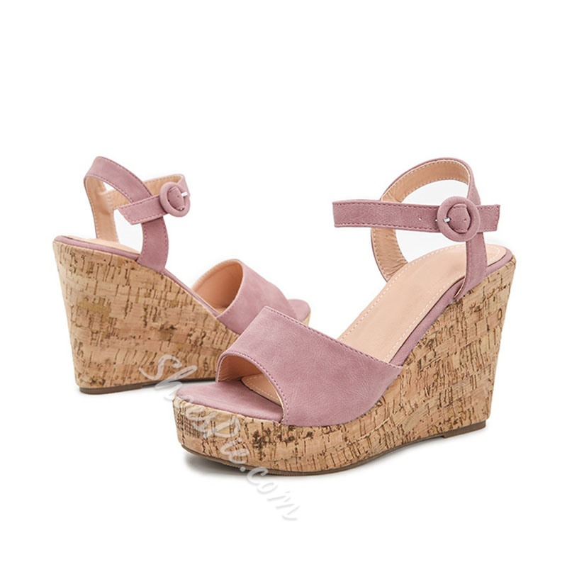 Shoespie Trendy Line-Style Buckle Peep Toe Plain Wedge Sandals