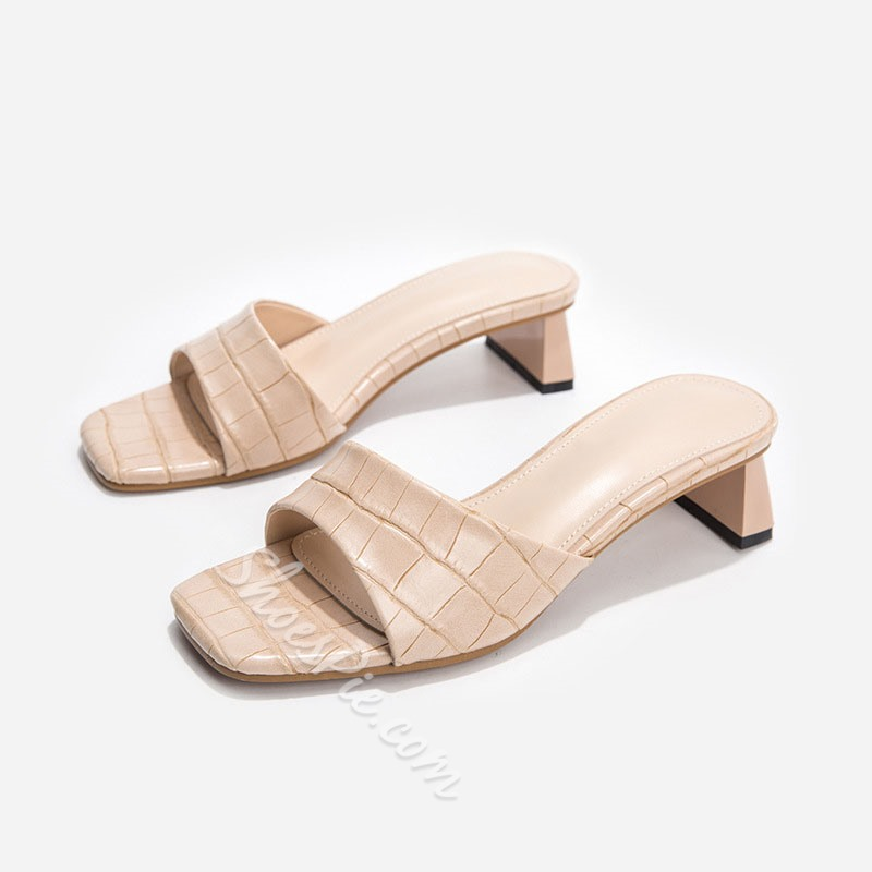 Shoespie Sexy Chunky Heel Alligator Pattern Casual Mules Shoes