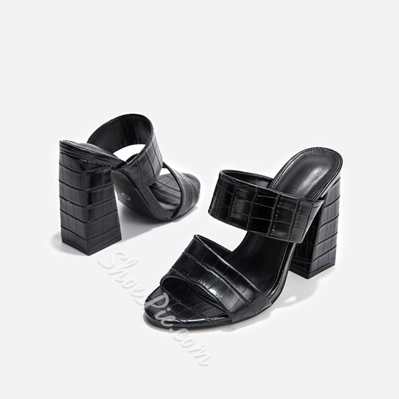 Shoespie Sexy Alligator Pattern Chunky Heel Summer Mules Shoes