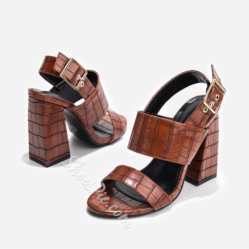 Shoespie Trendy PU Alligator Pattern Chunky Heel Buckle Casual Sandals