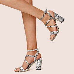 Shoespie Stylish Open Toe Chunky Heel Line-Style Buckle Casual Sandals