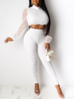 Sexy White Mesh Short Shirt Skinny Pants Women's Two Piece Sets