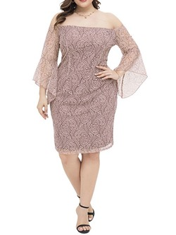 Plus Size Floral Lace Mesh Flare Sleeve Off Shoulder Women's Dress