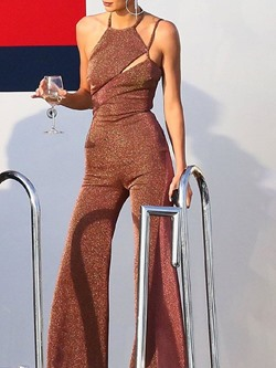 Elegant Halter Hollow Full Length Sexy Wide Legs Women's Jumpsuit