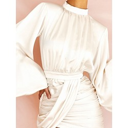 Elegant Pleated Patchwork Stand Collar Lantern Sleeve Women's Dress