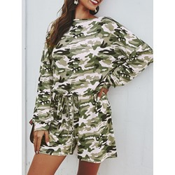 Casual Camouflage Print Long Sleeve Loose Women's Romper