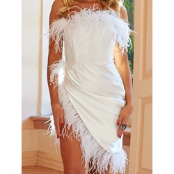 Elegant White Feather Strapless Asymmetric Mid Waist Women's Dress