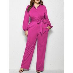 Plus Size Stylish Rose Lapel Lace-Up Lantern Sleeve Women's Jumpsuit