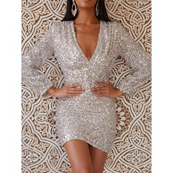 Sexy Sequins V-Neck Long Sleeve Bodycon Women's Dress