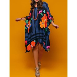 Casual Asymmetric Batwing Sleeve Floral Print Women's Dress
