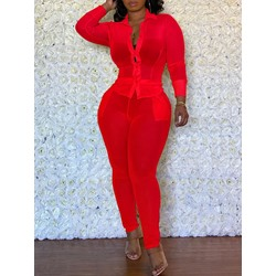 Red See-Though Single-Breasted Shirt Pencil Pants Women's Two Piece Sets