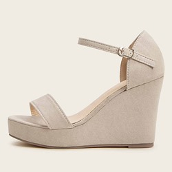 Shoespie Sexy Open Toe Wedge Heel Line-Style Buckle Plain Sandals