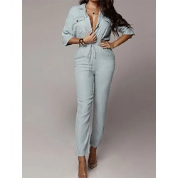 Fashion Lapel Single-Breasted Button Half Sleeve Women's Jumpsuit