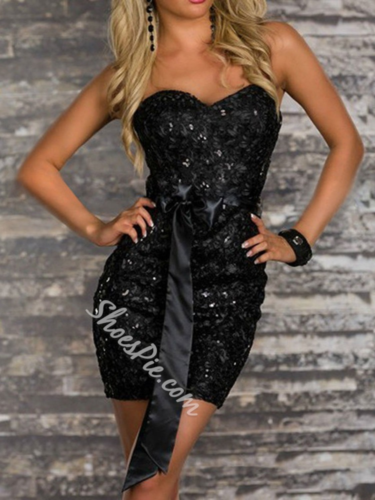 Sexy Black Strapless Pleated Sequins Bodycon Party Women's Dress