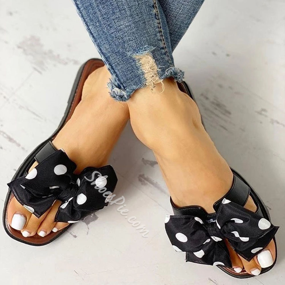 Shoespie Stylish Slip-On Flip Flop Bow Rubber Slippers