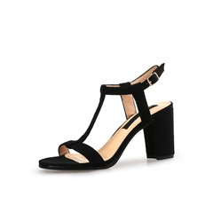 Shoespie Stylish Chunky Heel T-Shaped Buckle Open Toe Casual Sandals
