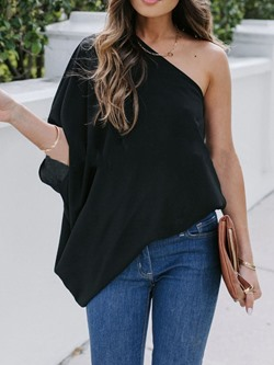 Casual One Shoulder Three-Quarter Sleeve Asymmetric Loose Women's T-Shirt