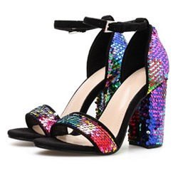 Shoespie Sexy Sequin Chunky Heel Line-Style Buckle Open Toe Sandals
