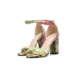Shoespie Stylish Line-Style Buckle Chunky Heel Serpentine Sandals