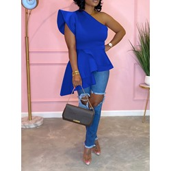Blue Cap Sleeve One Shoulder Asymmetric Falbala Women's Blouse
