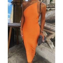 Stylish Oblique Collar Sleeveless One-Shoulder Backless Women's Dress