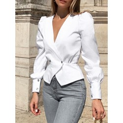 Elegant V-Neck Puff Sleeve Double-Breasted Women's Blouse