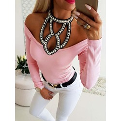 Sexy Hollow Cold Shoulder Long Sleeve Women's T-Shirt
