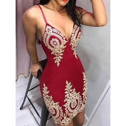 Sexy Print V-Neck Spaghetti Strap Sleeveless Bodycon Women's Dress