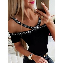 Black Cold Shoulder Short Sleeve Rhinestone Women's T-Shirt