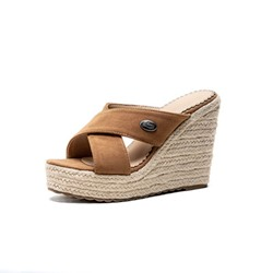 Shoespie Stylish Cross Strap Slip-On Casual Wedge Sandals