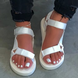 Shoespie Trendy Velcro Open Toe Flat With Plain Sandals