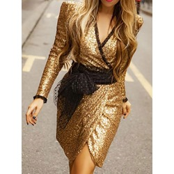 Elegant V-Neck Sequins Lace-Up Princess Sleeve Women's Dress
