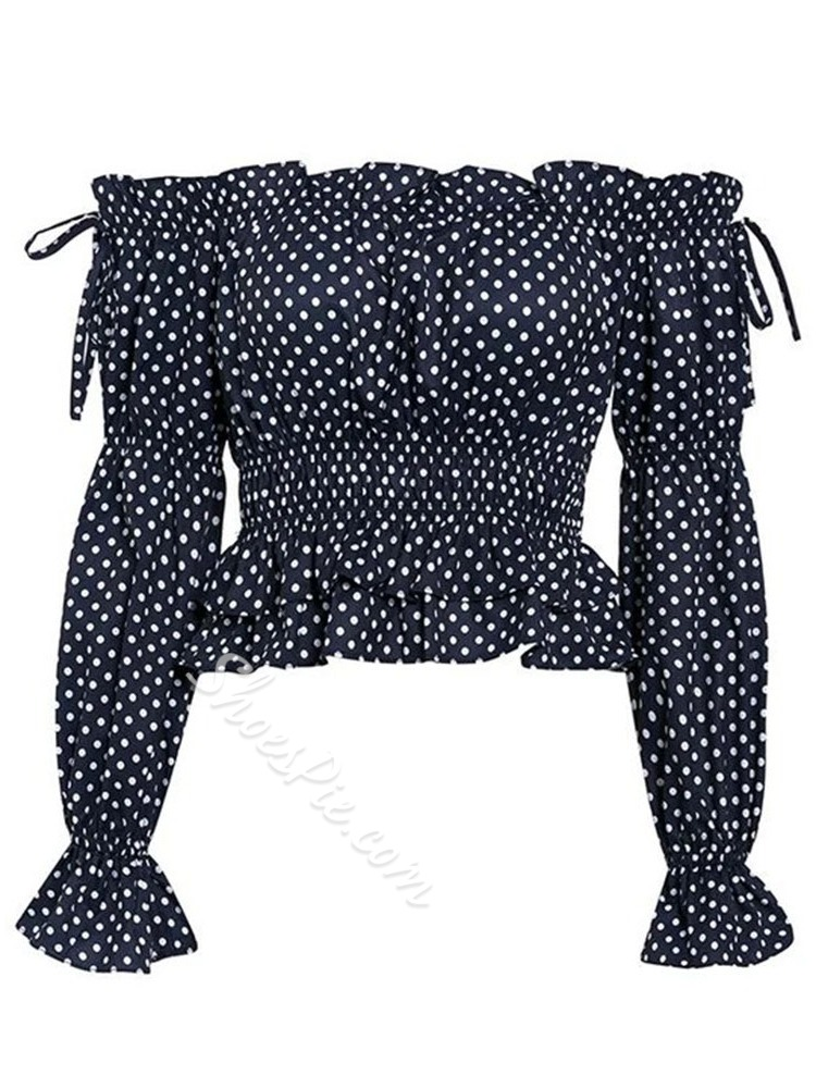 Sweet Off Shoulder Polka Dots Long Sleeve Falbala Women's Blouse