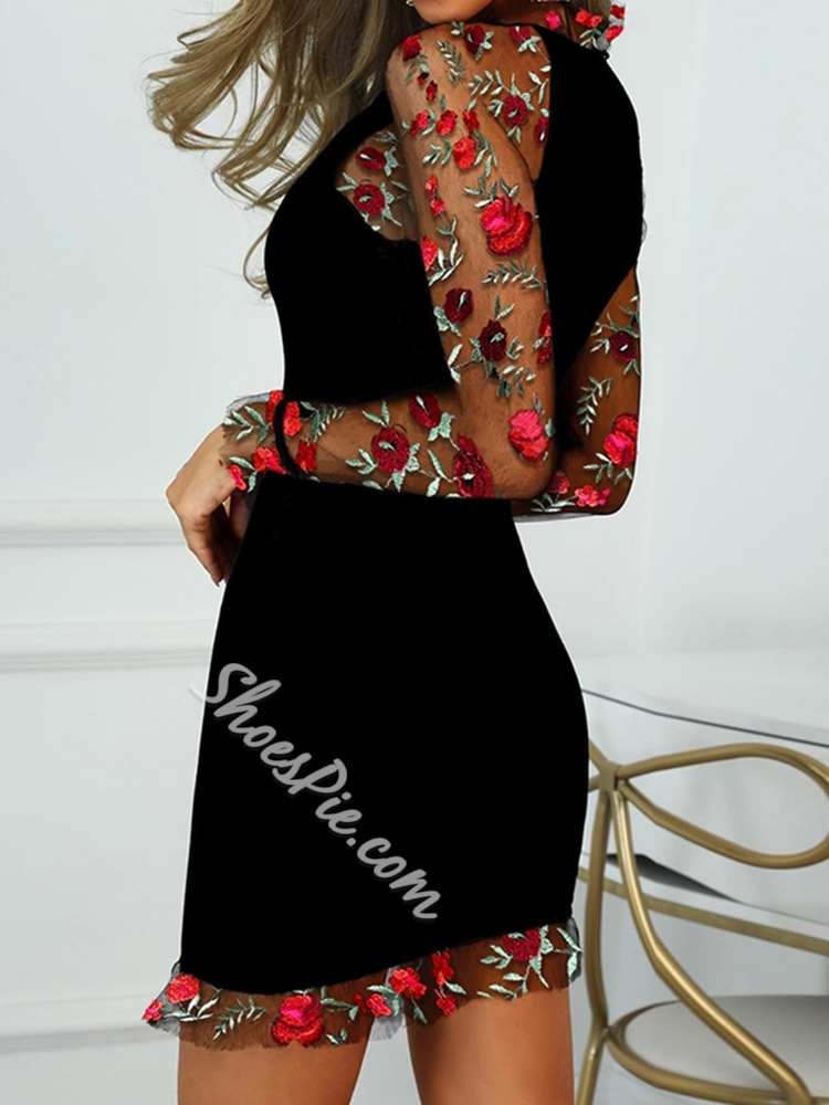 Sweet Mesh Floral Embroidery Long Sleeve Bodycon Women's Dress