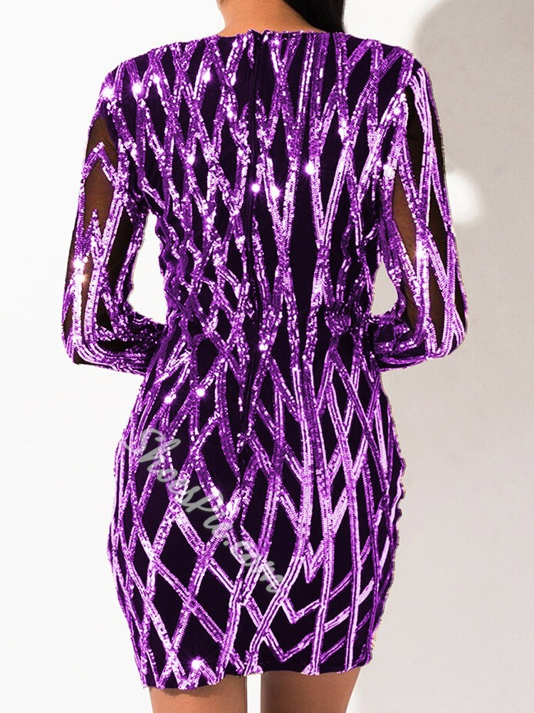 Purple Sequins V-Neck Long Sleeve Bodycon Women's Dress
