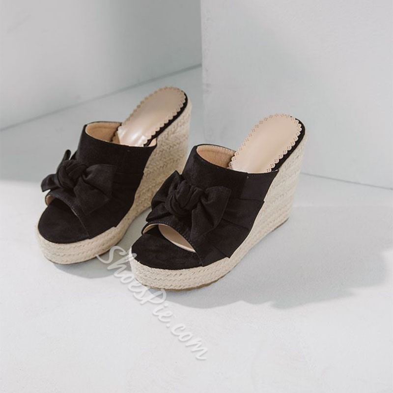 Shoespie Sexy Suede Bow Slip-On Casual Wedge Sandals