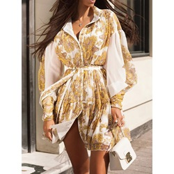 Casual Elegant Print Lapel Lantern Sleeve Vintage Women's Dress