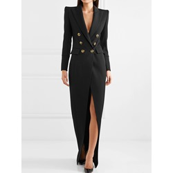 Elegant Split Notched Lapel Long Sleeve Double-Breasted A-Line Women's Dress